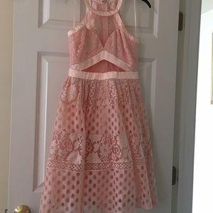 Pink Lace Halter Neck Mesh Dress
